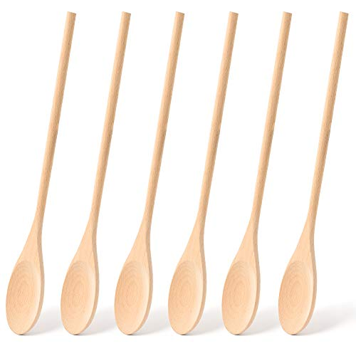 HANSGO Long Handle Wooden Cooking Mixing Oval Spoons, 6PCS 12 Inch Long Wooden Spoons Wooden Tasting Spoons Large Cooking Spoons