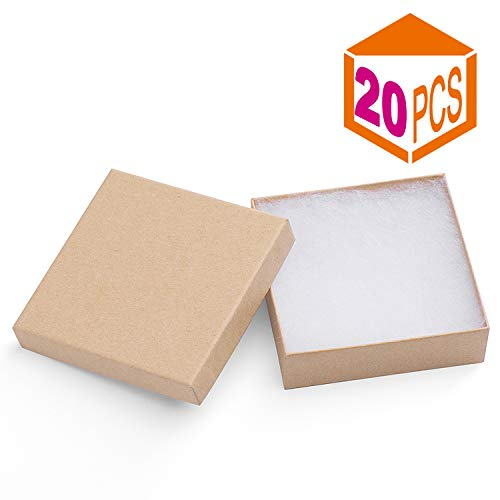 MESHA Jewelry Boxes 3.5x3.5x1 Inches Paper Gift Boxes Cardboard Bracelet Boxes with Cotton Filled (Brown-20Pcs)