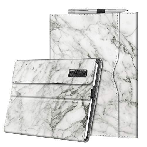 Fintie Hülle für Surface Go 3 (2021) / Go 2 (2020) / Go (2018) 10 Zoll Tablet - Multi-Sichtwinkel Kunstleder Schutzhülle Cover Hülle mit Dokumentschlitze, Type Cover kompatibel, Marmor Weiß