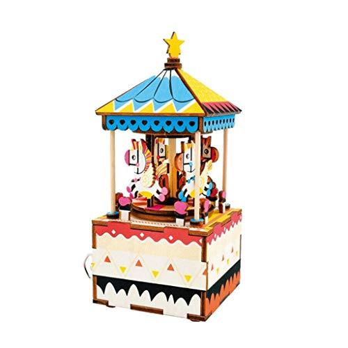 ZXCHB Carrusel de Madera 3D Caja de música Rompecabezas de Madera Carrusel Regalo Hecho a Mano Chica Decoración del hogar