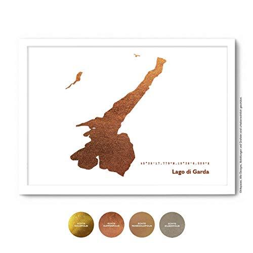 Lago di Garda Poster - Wähle Rose-Gold Silber Kupfer + Wunschtext + Rahmen - Personalisierte Wand-Deko Wohnzimmer, Gardasee Wand-Bild Kunstdruck Zuhause Schlafzimmer - A4 A3