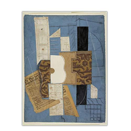 cutby Pablo Picasso 《Gitarre 1913》 Leinwand Malerei Druck Poster Bild Moderne Wand Wohnkultur Für Wohnzimmer-50x70 cm x1 Kein Rahmen