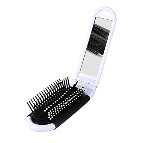 MLXG - Cepillo de pelo plegable portátil con espejo y peine de bolsillo compacto, color blanco