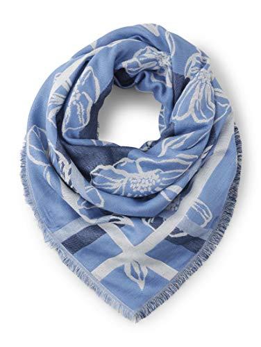 TOM TAILOR Damen 2 Schal mit Schriftzug- und Blumen-Print sea blue,ONESIZE
