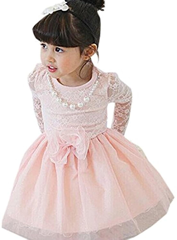 子供 長袖 レース ドレス キッズ ワンピース 女の子 発表会 結婚式 誕生日 クリスマス ガールズ (100, ピンク)