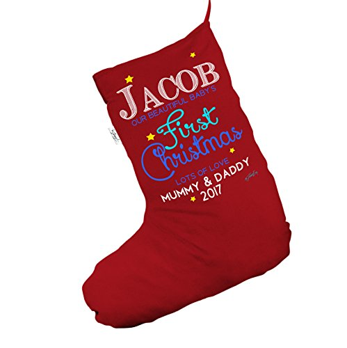 Personalizzato Beautiful Baby' s first Christmas Jumbo rosso 'calza di Natale