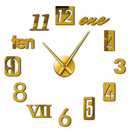 DIY wall clock Mixed Number Styles Arabia Roman Numerals Modern Wall Clock Acrylic Mirror Effect Numbers Stickers DIY Giant Wall Watch for wall decoration