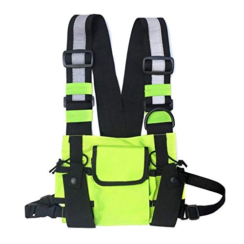 Reflecterend vest reflecterende mannen vrouwen Chest Rig Bag vest Hip Hop Streetwear functionele riem borstzak Pack voorste heuptas rugzak China Green Color