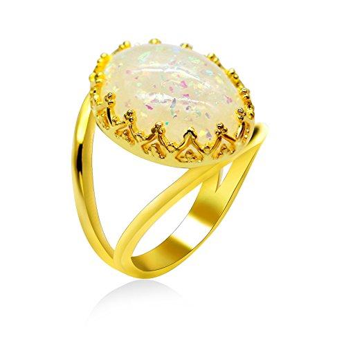 Uloveido RA0352 - Anello da donna con opale di fuoco bianco e Ottone, 58 (18.5), colore: Oro, cod. RA0352-8