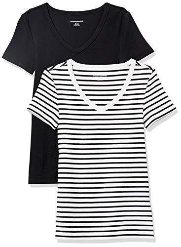 Amazon Essentials Damen fashion-t-shirts 2-pack Slim-fit Short-sleeve V-neck T-shirt, Weiß/Schwarz gestreift/Schwarz, X-Small (34-36)