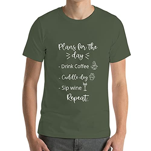 Plans for the Day Drinking Coffee Cuddly Dog Sip Wine Repeat T-Shirts - Classic for Men Humour Sarcasm Wear - Blue - 3XL