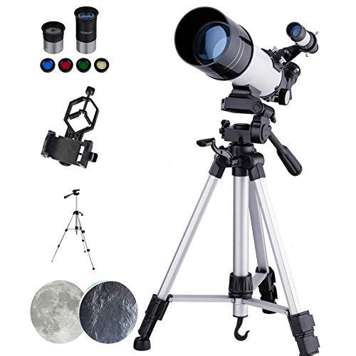 Telescopio Astronómico para Niños Principiantes, Alta Ampliación HD, Doble Uso, Portátil y Equipado con Trípode, Adaptador De Teléfono Inteligente Refractores MAXLAPTER