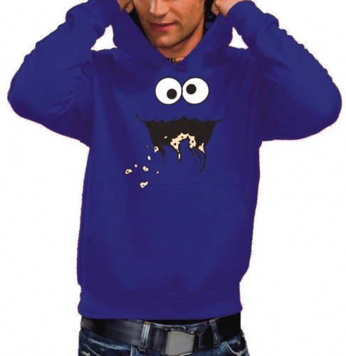 Coole-Fun-T-Shirts Cookie Monster Hoodie Sweatshirt mit Kapuze blau, GR.XXL