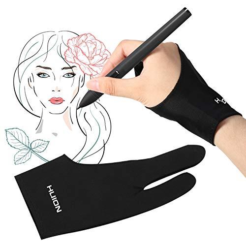 Fesjoy Guante de Dibujo de Artista, GL200 Guante de Dibujo de tamaño Libre con Dos Dedos Guante de Pintura para Tableta de Artista para Mano Derecha e Izquierda Compatible con tabletas gráficas de