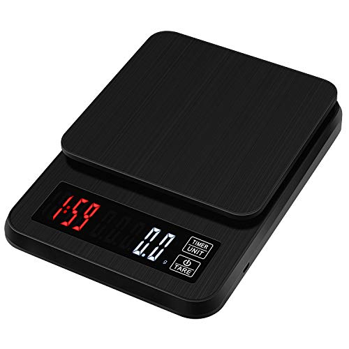 Zorara Kaffeewaage, 3kg / 0.1g Digital-Kaffee-Skala, Digitale Kaffeewaage mit Timer, Kaffee Waagen mit LCD Display, Lebensmittelwaage, zum Wiegen von Kaffee, Zutaten, Schmuck (Schwarz)