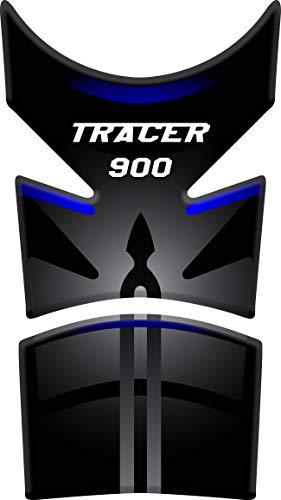 Tankpad Motorad Draht Muster Tankschutz Polymer KOMPATIBEL Yamaha Tracer 900 (Black/Blue)