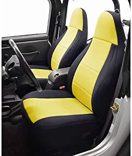 Coverking Custom Fit Seat Cover for Jeep Wrangler YJ 2-Door - (Neoprene, Black/Yellow)