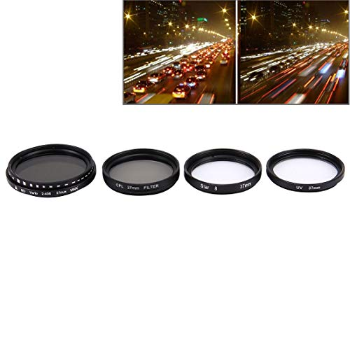 RENYL Renyl JUNESTAR 4 in 1 professionele lens 37 mm (CPL + UV + ND2-400 + Stella 8) voor GoPro en Xiaomi Xiaoyi Yi Sport Action Camera