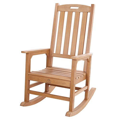 QOMOTOP Outdoor Rocking Chair, for Dad Oversized Poly Lumber Weatherproof Patio Rocking Chairs Porch Rocker Chair Porch Glider Supports up to 350 lbs, Teak Color