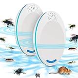 Repellente Ultrasuoni, Non Tossico & Sicuro per l'ambiente per Umani e Animali Domestici Perfetti, Repeller Parassiti ad Ultrasuoni Repellente per Repeller Control, Mouse, Insetti(2 Pezzi, Bianco)
