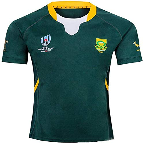 FWHACMT 2019 Weltmeisterschaft Rugby Jersey Rugby-Trikot South Africa Home/Away für Männer Kurzarm-Freizeit-T-Shirt-Trainingsanzüge Südafrika zu Heim Auswärts,Grün,M