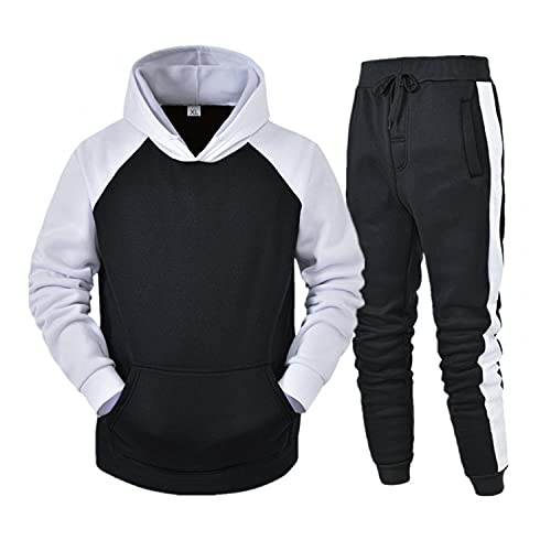 Men's Tracksuit 2 Piece Hooded Athletic Sweatsuits Patchwork Pullover Sweatsuits Running Jogging Sport Suit Sets Activewear