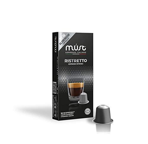 MUST 100 Cápsulas de Café en Aluminio 100% Reciclable Hasta el Infinito Mezcla Ristretto Intensidad 7/8 10 Paquete de 10 Cápsulas Compatibles con las Cápsulas de la Máquina Nespresso Made in Italy