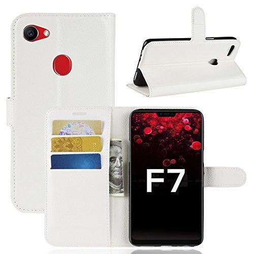 TenYll Oppo F7 Wallet Tasche Hülle, PU Schutzhülle [Premium Leder] [Ultra Slim] [Card Slot] [Ständer] Flip Wallet Hülle Etui für Oppo F7 -Weiß