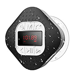 small Waterproof Bluetooth radio receiver for shower with LED screen, AGPTEK portable wireless speaker …