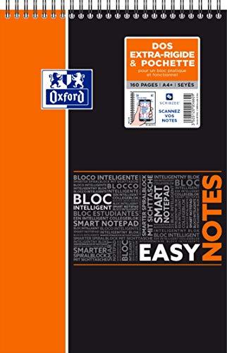 Oxford EasyNotes Bloc-Notes à Spirales Format A4+ 160 Pages Grands Carreaux Seyès Couverture Polypro Couleur Aléatoire