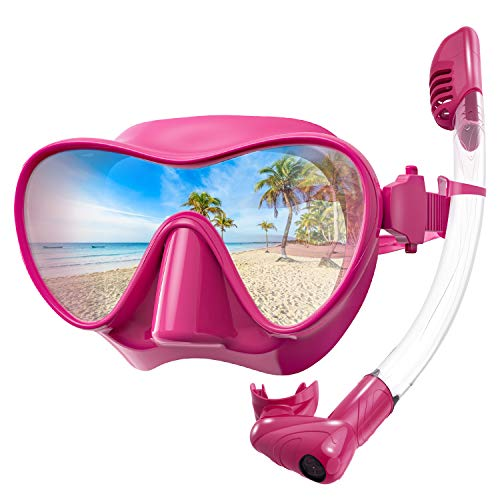 Rodicoco Snorkel Set Frameless Snorkel Goggles Foldable Snorkel Gear Detachable Snorkel Mask with 180Degree Panoramic View and Anti Fog Tempered Glass for Swimming Scuba Diving Snorkeling(Red, L)