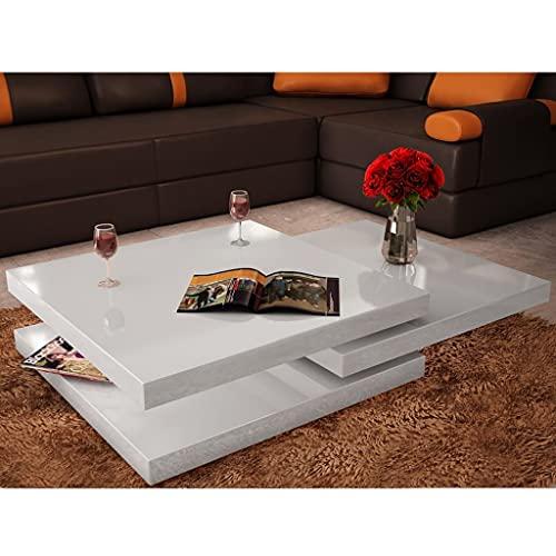 LINWXONGQP Couleur : Blanc laqué Tables Basses et Tables d'appoint Table Basse 3 étagères Blanc Brillant