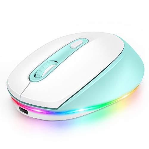 seenda Bluetooth Funkmaus, LED Kabellose Maus mit Beleuchtung, Leise Wiederaufladbare 3 Modi Mäuse (BT3.0+BT5.0+2.4G), 2400 DPI Kompatibel mit Laptop/PC/Mac/Android/Tablet (Weiß+Blau)