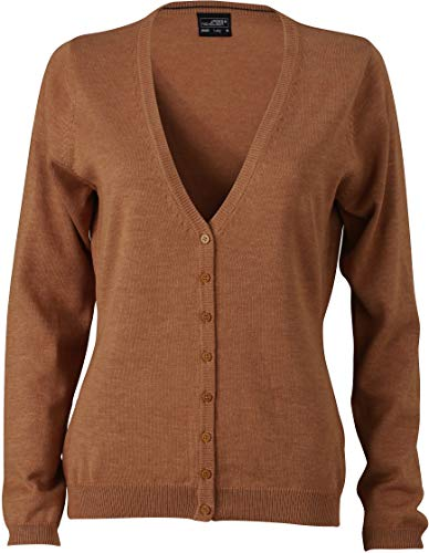JN660 Damencardigan Strickjacke Damen Cardigan V-Neck M,Camel