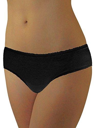 Underworks 20 Pack Womens Disposable 100 Cotton Underwear For Travel Hospital Stays Emergencies Black
