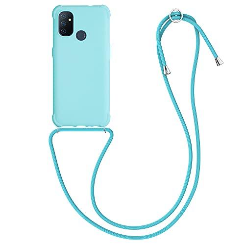 kwmobile Carcasa Colgante Compatible con OnePlus Nord N100 - Funda con Cuerda de TPU Mate en Azul Claro