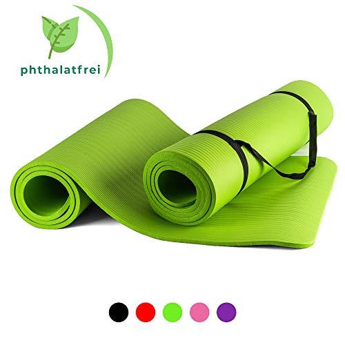 BigDean Yogamatte Gymnastikmatte Sportmatte für Yoga Pilates Fitness & Gymnastik mit Tragegurt rutschfest + gelenkschonend Maße 180x60x1,5cm Stärke 1,5 cm