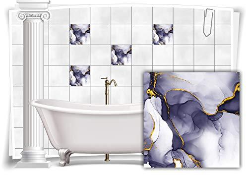 Medianlux Adhesivo decorativo para azulejos, diseño de mármol, óleo, pintura abstracta para baño, color dorado y gris, 6 unidades, 20 x 20 cm m23m11q-136879