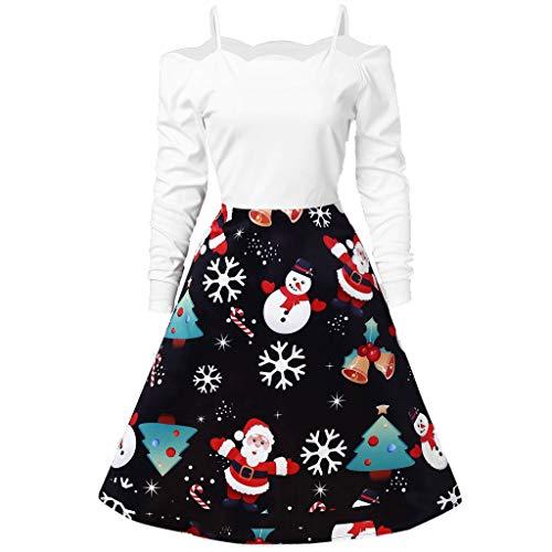 Auifor vrouwen-kerstjurk ronde kraag vintage sneeuwvlok cadeau-print jurk