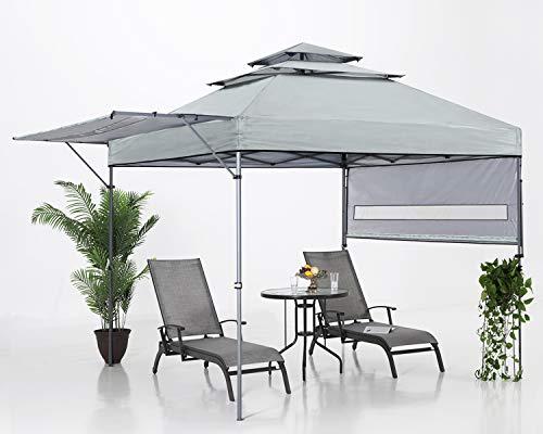 ABCCANOPY 3x3M Pop Up Gartenpavillon 3-Tier Instant Canopy mit verstellbaren Doppelhalbmarkisen, Grau