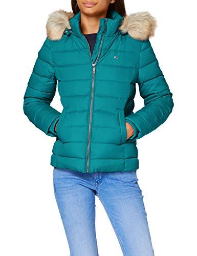 Tommy Jeans Damen TJW Basic Hooded DOWN Jacket Jacke, Midwest Green, 42(Large)