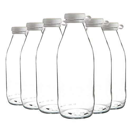 Argon Tableware Botellas de Vidrio de Leche con Tapa de Silicona - Nevera Grande de Almacenamiento garrafa Decanter - 1 Litro - Pack de 6