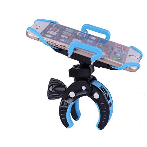 ptcm Fahrrad montiert Handy Halterung Ständer & #-; im Clip-Stil Handy Halter mit 360Grad Rotation, 2016Fashion passenden Mobile Halter mit Rubber Strap blau