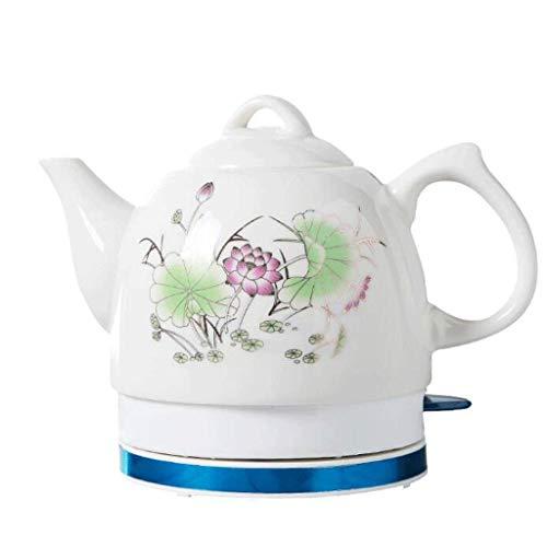 WENYAO Tetera eléctrica Tetera de cerámica Blanca inalámbrica 1L Jarra (Loto de Verano) hierve Agua rápidamente para té Sopa de café