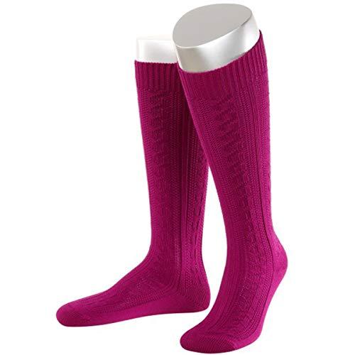 JD Lange Damen Trachtensocken Trachtenstrümpfe Zopf Socken, 42-44, Pink