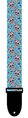Colorful Sugar Skulls Day of the Dead Guitar Strap