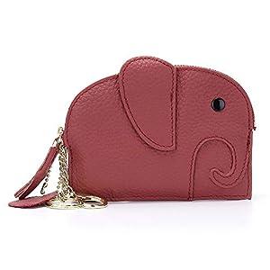 Mingtianzhan - Monedero de piel para mujer, diseño de elefante, color rojo ladrillo