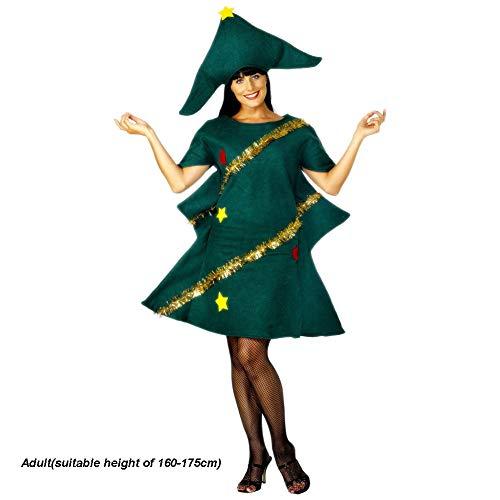 Costumi di Natale, donne e bambini costume cosplay party albero di Natale vestito con cappello vestito novità carino Dress, Christmas party supplies 160-170cm Come da immagine