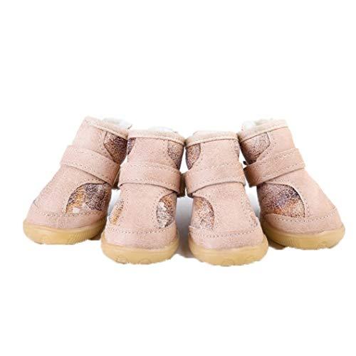 AMURAO Rétro Hiver Petit Chien Chaussures Anti-dérapant pour Animaux de Compagnie Pluie Chaussons de Neige épaisse Bottes de Neige en Peluche pour Teddy Poodle