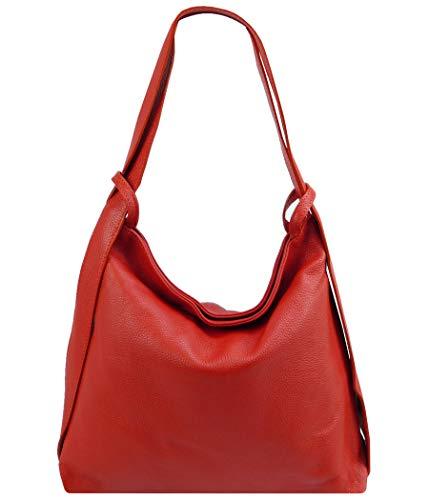 Freyday 2in1 Damen Handtasche Rucksack Designer Luxus Henkeltasche aus 100% Echtleder HR01 (Rot)